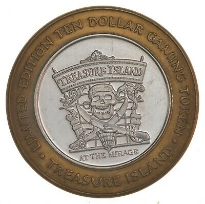 .999 Silver Treasure Island Casino Chip LTD ED $10 Token Approx .60 T Oz ASW*720
