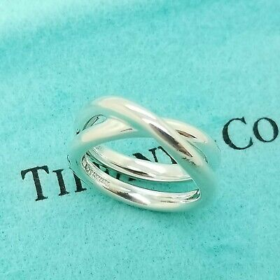 Tiffany & Co 925 Paloma Picasso Sterling Silver Crossover Le Circle Ring Size 6