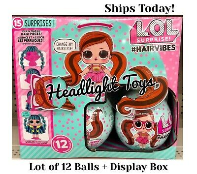 Display Case Box Lot of 12 Balls Authentic LOL Surprise HAIRVIBES Dolls Tots