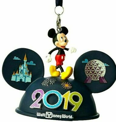 Disney World Parks 2019 Mickey Mouse Light-Up Ear Hat Christmas Ornament NWT