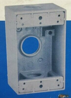 """Lot of 16 - Sigma Electric 14252 Metal 3/4"""" 3-Hole Outlet Box All-Weather Gray"""