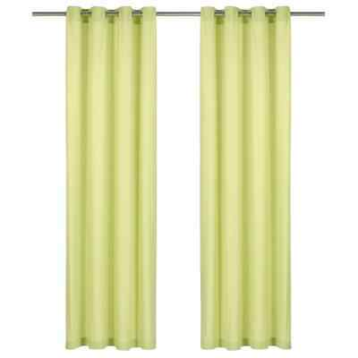 vidaXL 2x Curtains with Metal Rings Cotton 140x175cm Green Window Covering