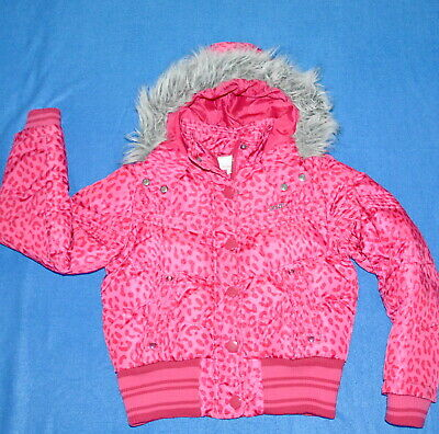 Next Girls Winter Pink Bomber Fur Hooded Coat Jacket - 9-10 Years