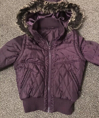 Girls Purple Tammy Bomber Jacket Coat/body Warmer With Detachable Arms - Age 8-9