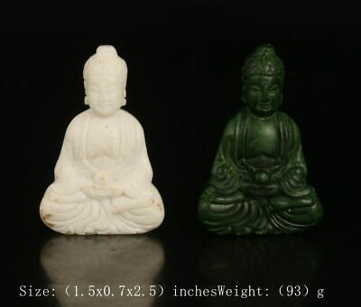 2 Ancient Chinese Jade Pendant Statue Guanyin Bodhisattva Spiritual Old Gift