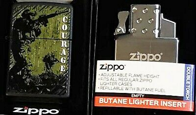 Zippo Torch Military Courage Armed Forces Black Matte Butane Insert Double Torch