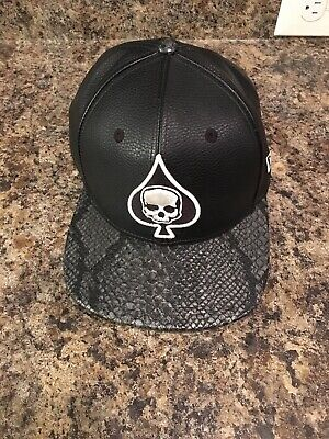New Era 9fifty snapback Skull Spade Black Snake Leather Hat Hard To Find! LOOK!