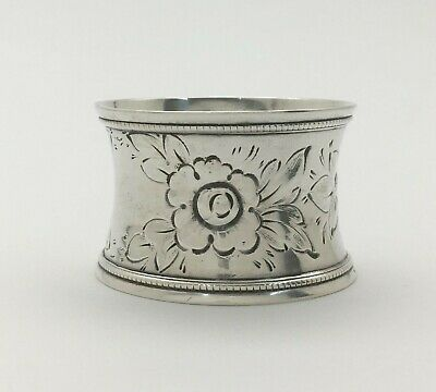 Fabulous Victorian Repousse Flowers Sterling Silver Napkin Ring
