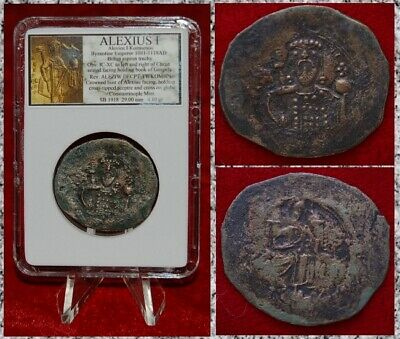 Ancient Byzantine Empire Coin ALEXIUS I Jesus Christ Holding book of Gospels
