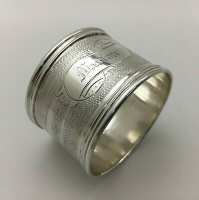 "Superb Bright Cut Engine Turned Engraved Sterling Silver Napkin Ring ""MARION"""