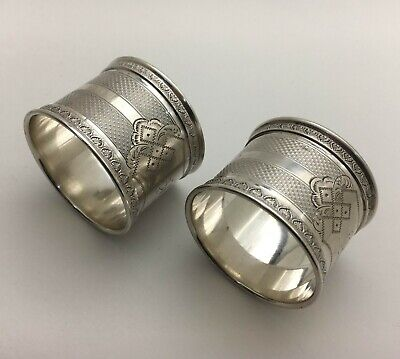 Superb Antique Bright Cut Engraved Engine Turned Sterling Silver Napkin Rings