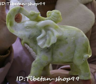 Chinese Natural Lantian Jade Fengshui Folk Auspicious Elephant Animal Sculpture