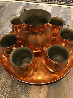 Vtg Mid Century 8 Pc Copper Mugs Pitcher Tray Set Moscow Mule Made In Portugal