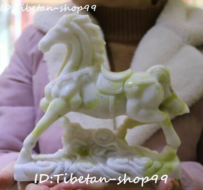 Natural Lantian Jade Fengshui Zodiac Running Horse Horses Success Animal Statue