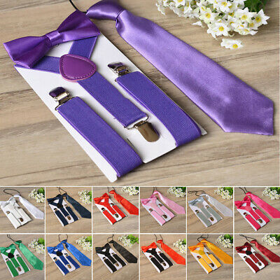 Necktie Suspenders Bow Tie Accessory Party Pageant Matching Braces Kids Boys Hot