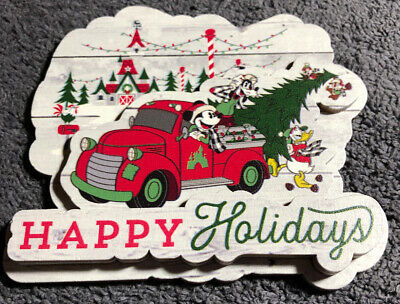 Disney Parks 2019 Christmas Happy Holidays Wood Magnet Magnet