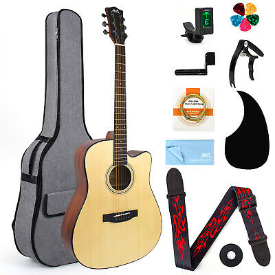 AKLOT Acoustic Guitar Full Size Spruce w/ Case Strap String for Beginner&Student