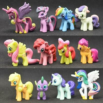 12PCS Set My Little Pony Figures Toys Mini Unicorn Fluttershy Rainbow Dash