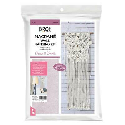 Birch Macrame Wall Hanging Kit - Chevron & Tassels / Diy Hand Knotting Kit