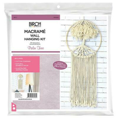 Birch Macrame Wall Hanging Kit - Palm Tree / Diy Hand Knotting Kit