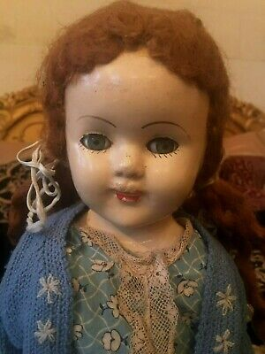 VINTAGE 1940s DOLL 53 CM TALL WITH CLOTHES
