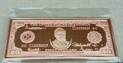 1Oz 1918 Series  $50 Lincoln Federal Reserve Copper Layered Certificate
