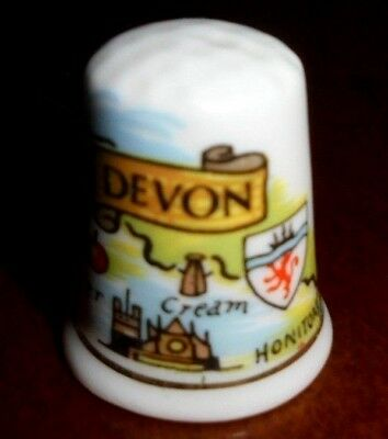 Collectable Bone China Thimble ~ Map of Devon, England ~ VGC!  #29
