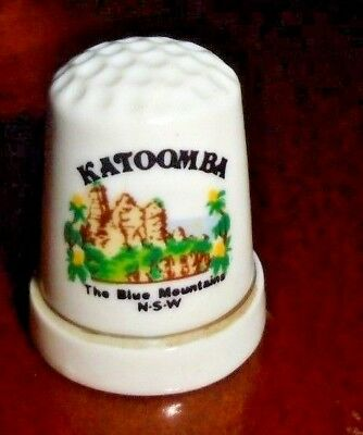 Collectable Porcelin Thimble ~ KATOOMBA The Blue Mountains, NSW ~ VGC!  #4