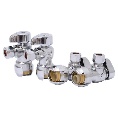 SharkBite 23036LFA4 Angle Stop, 1/2 inch x 3/8 inch, Compression Fitting, Water