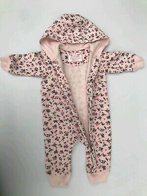 Baby girls Pink floral   3-6M hooded pram suit all in one  68cm BNWT