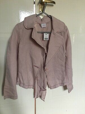 NEW Girls NEXT Pink Jacket LineN blazer Age 9-10 Yrs with Linen Scarf