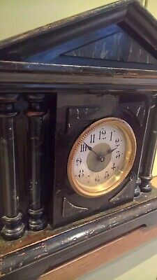 Vintage ebonised architectural palisade wooden clock - some restoration required
