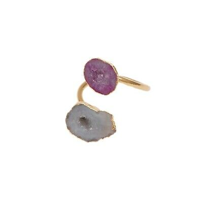 Gold plated Adjustable Gray Pink Geode Druzy Beautiful Ring Party Jewelry