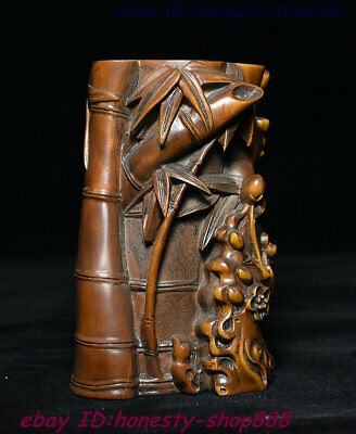 Chinese Boxwood Wood Carving Bamboo Goblet Standing Cup Angle Of cup horn Statue