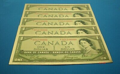 💰 5 pcs of Canada $1 Banknote 24kt Gold Foil Bill Note 🎁