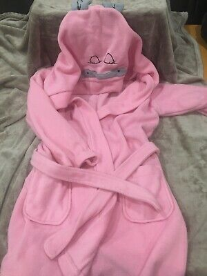 Girls Pink Hooded Dressing Gown Age 7-8