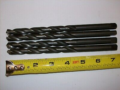 "Lot of 4 Used UB 27/64"" HSS 135° Black Oxide Taper Length Tanged Shank Drill"