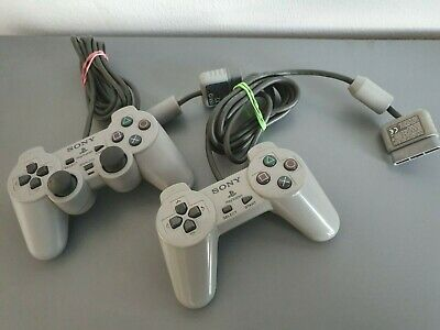 2 x Official Sony Playstation 1 Controller Grey PS1 TESTED WORKING