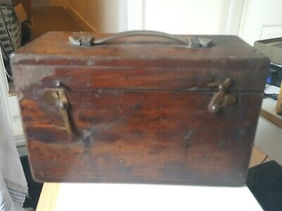 Vintage Wooden Dovetail Box With Leather Strap Handle