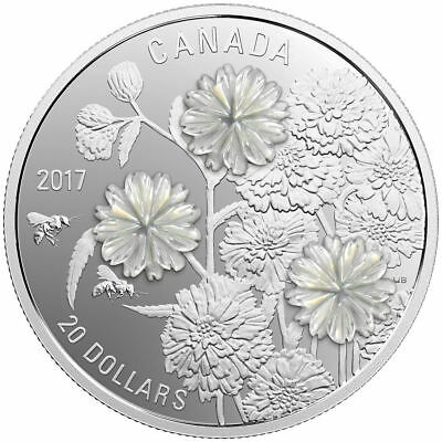2017 Canada Pearl Flowers W/ Mother-of-Pearl 1 oz Fine Silver $20 Proof Coin