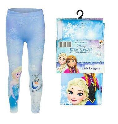 Girls Frozen Elsa Anna Full Length Leggings Blue 2-9 Yrs Safe Oeko-tex Gift