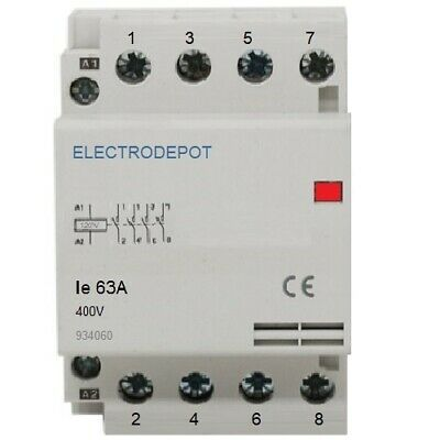 Contactor Normally Closed NC 60A, 4 Pole 120V coil, 50 Amp Lighting IEC 50A 30A