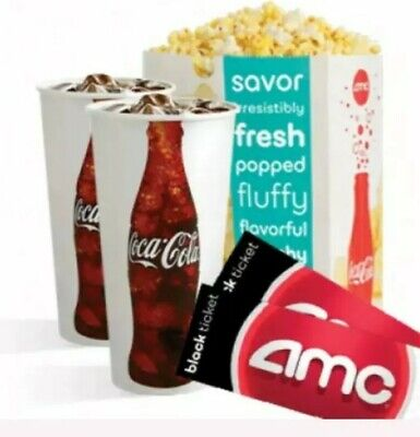 2 AMC Movie E-Tickets, 2 Large Drinks & 2 Large Popcorn- eDelivery $22.00