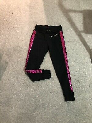 Girls Pineapple Trousers Black Pink Sequins Trendy Tight Bottoms Casual Wear 5/6
