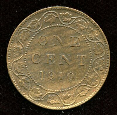 1910 Canada Large One Cent - Nice About Uncirculated Condition