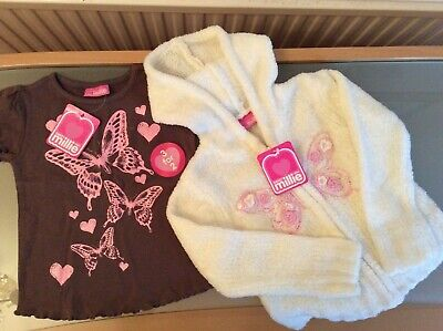Sweet Millie Butterfly T-Shirt And Hooded Chenille Cardigan Glitter Frost Age 3