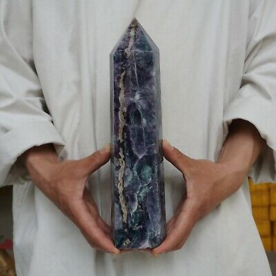 "8.2LB 12.4"" Natural Rainbow Fluorite Quartz Crystal Point Tower Polished Healing"