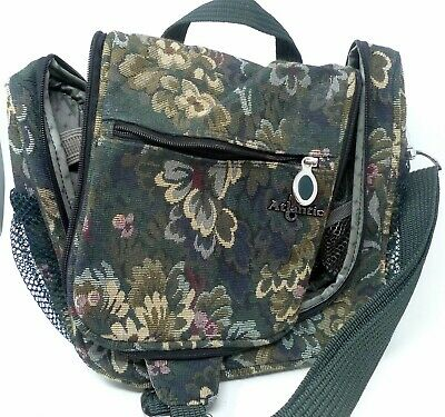 "Vtg Atlantic 10"" Green Floral Tapestry Carry On Travel Bag Luggage Organizer"