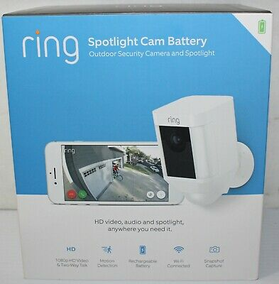 Ring Spotlight Cam Battery-Operated Motion Detector Outdoor Security Vid Camera