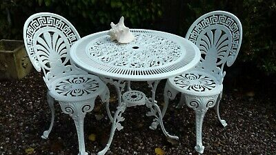 Vintage Style Cast Metal Patio Set Garden Table And 4 Chairs